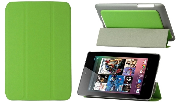 Leather Case for Asus Google Nexus 7 - Folding Design - Green