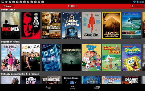 Android offers netflix app content in full hd