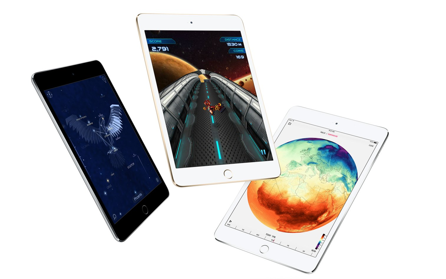 Three iPad mini 4 tablets floating in the air